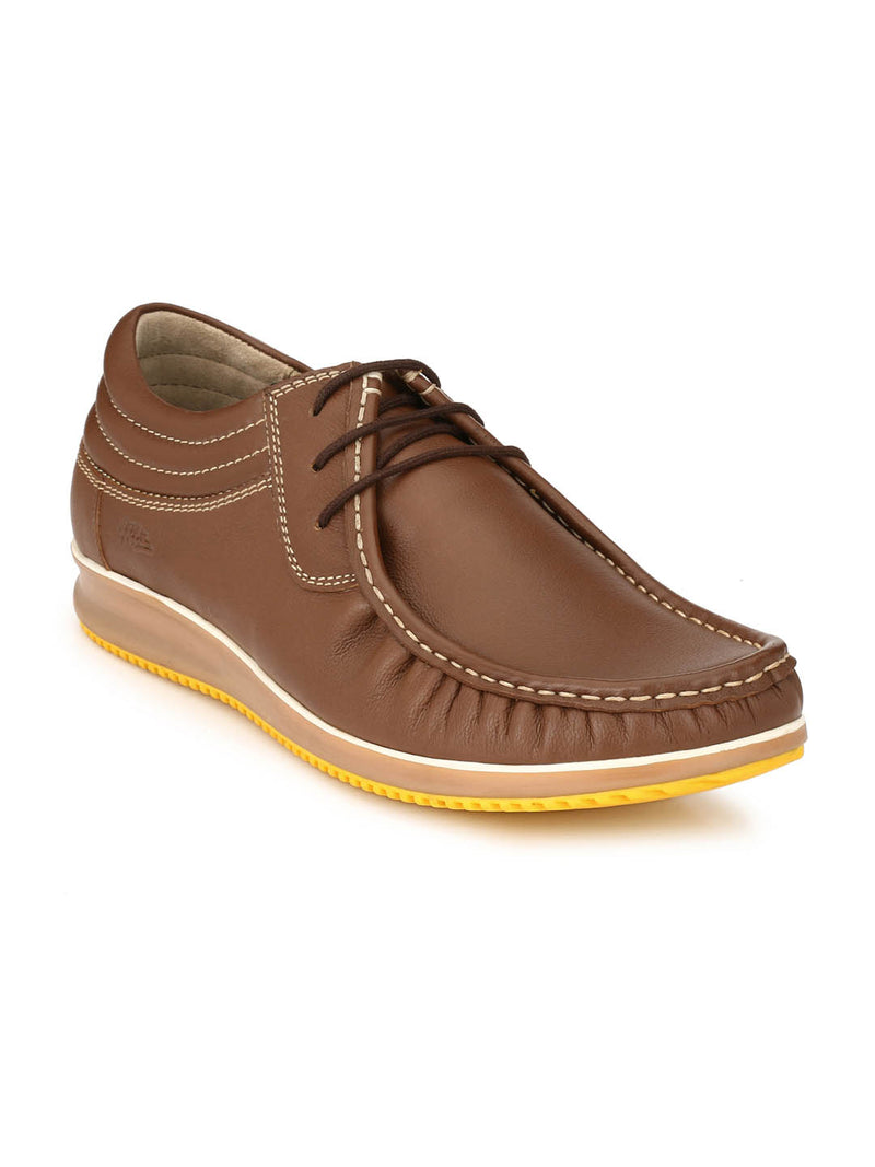 Men Tan Casual Leather Shoes