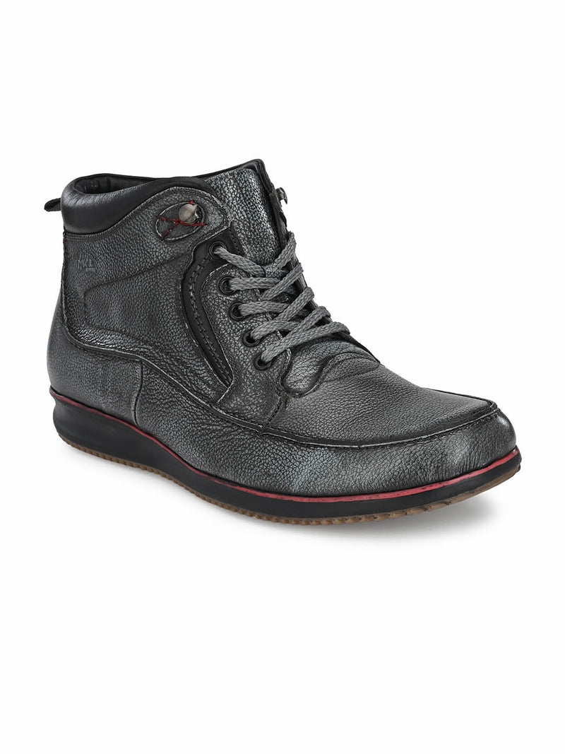 Ecco - 802 Grey Casual Leather Boots