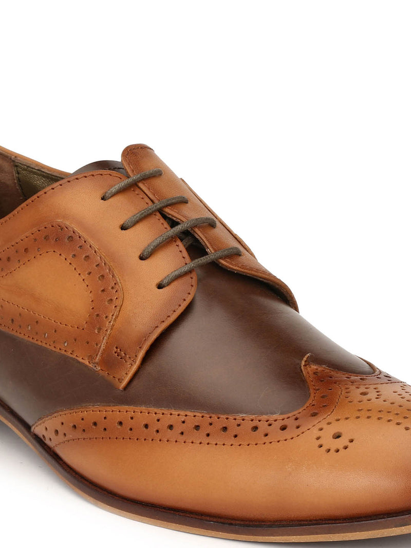 Men Tan Leather Formal Shoes