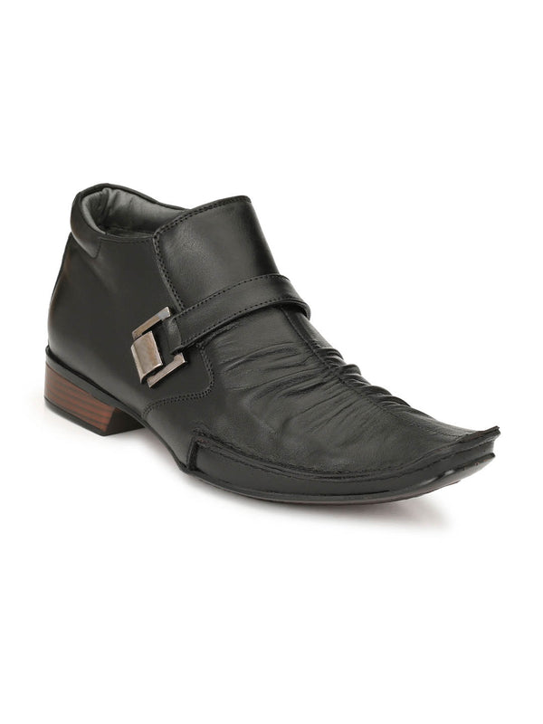 Men Black Leather High Ankle Boots with Zip