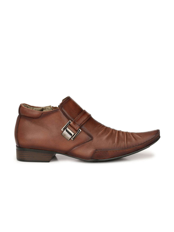 Men Brown Leather High Ankle Boots with Zip
