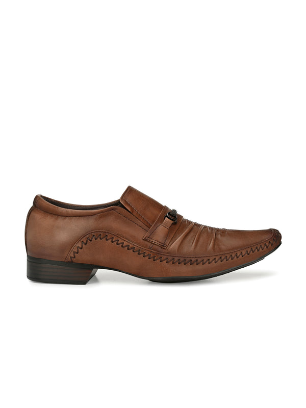 HITZ TAN LEATHER ANKLE SHOES FOR MEN