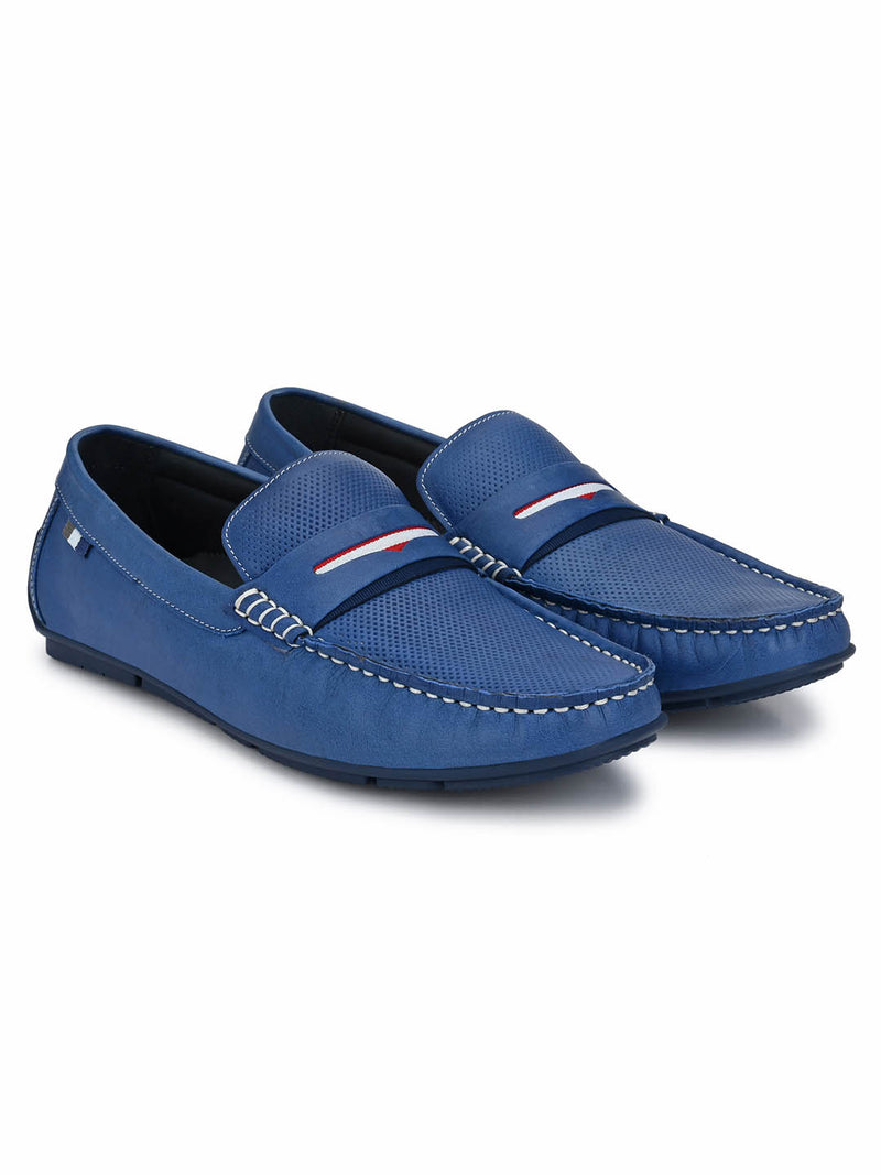 Men Blue Leather Casual Slip-on Loafers