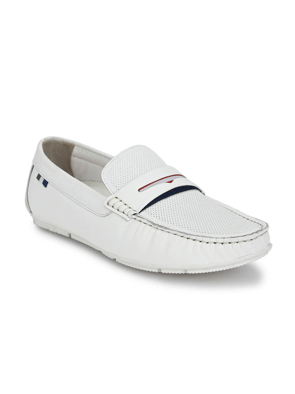 Men White Leather Casual Slip-on Loafers