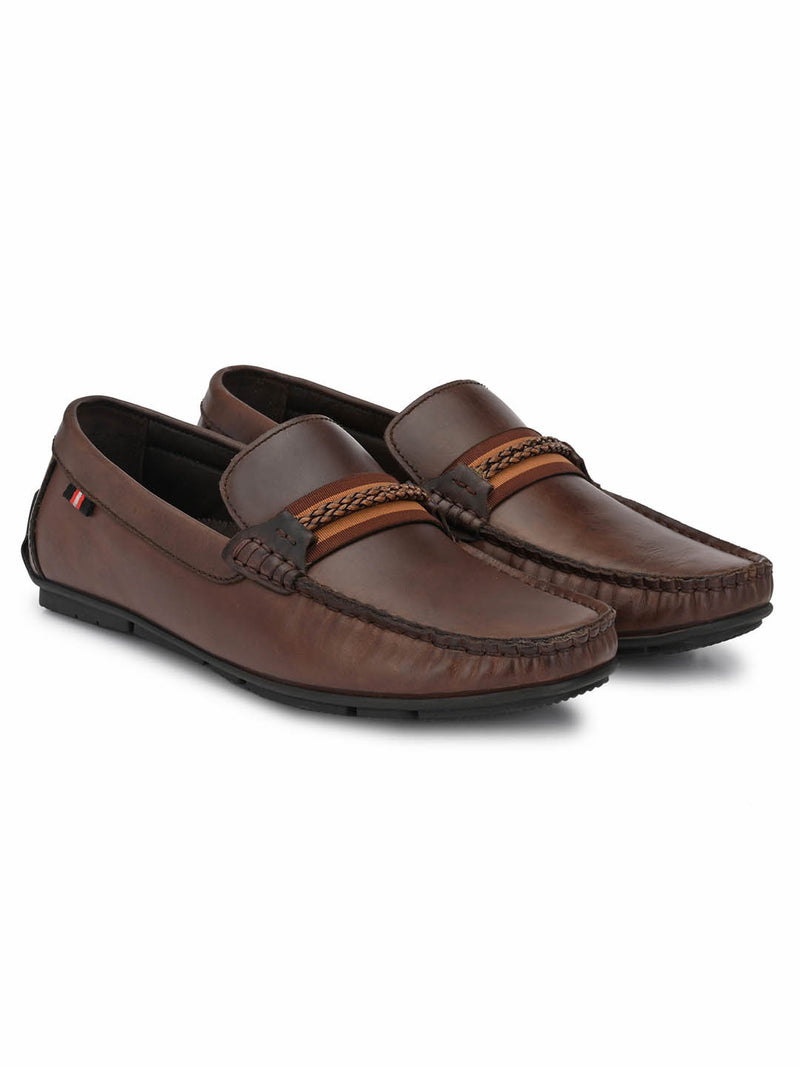 Men Brown Leather Casual Slip-on Loafers
