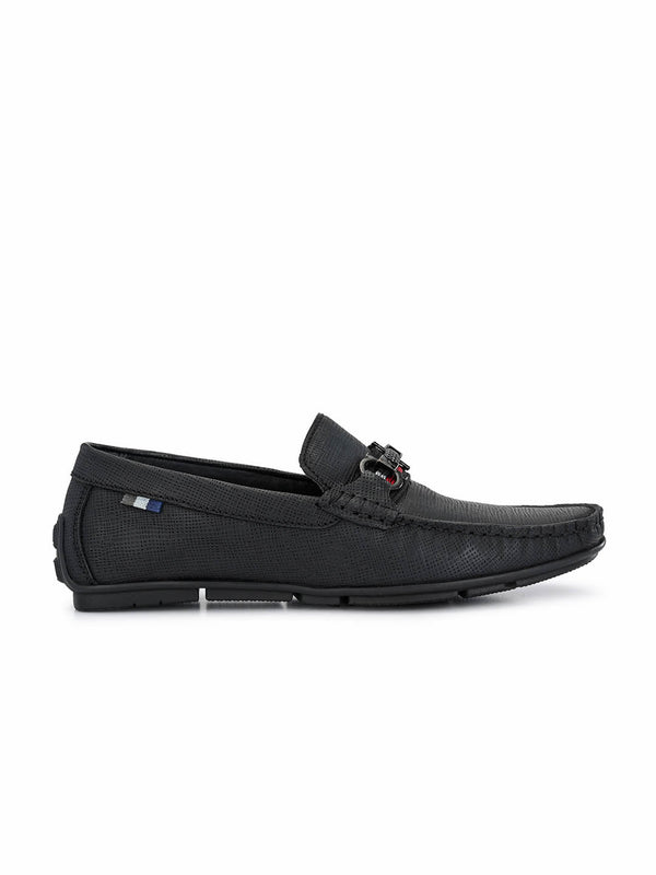 Men Black Leather Formal Loafers
