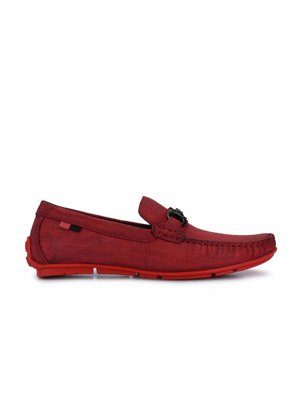Men Red Leather Formal Loafers
