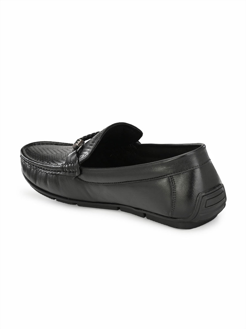HITZ BLACK LEATHER LOAFERS FOR MEN