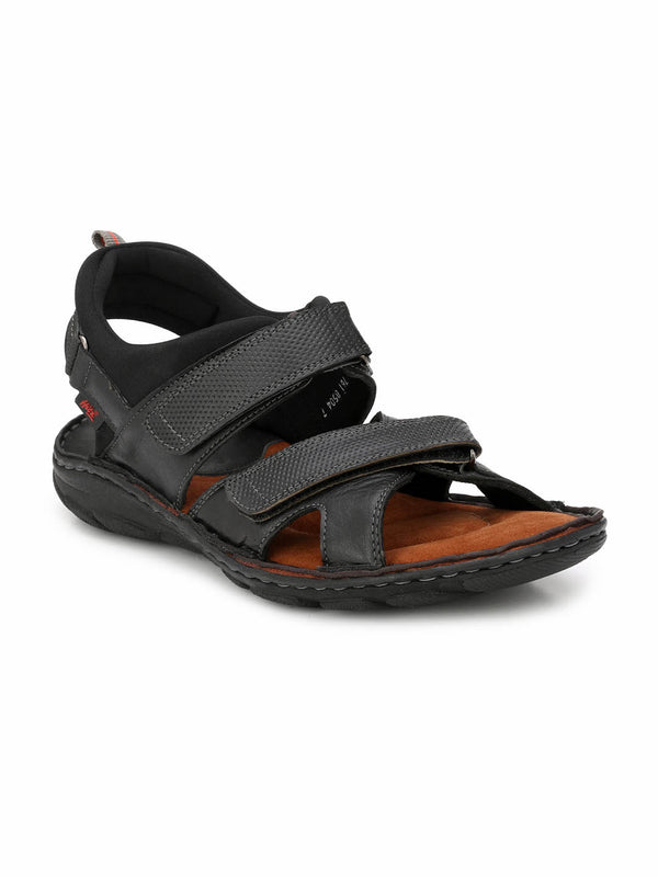 Router - 8504 Black Leather Sandals