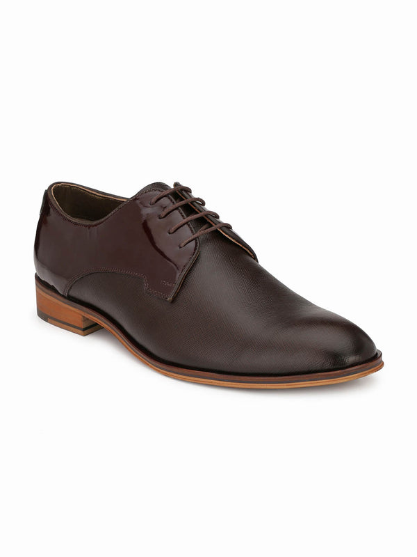 Play-3 8804 Brown Party Wear Leather Shoes