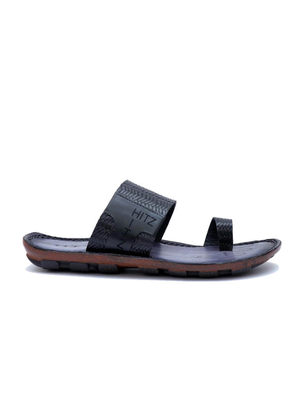 Ben - 9106 Black Leather Slippers