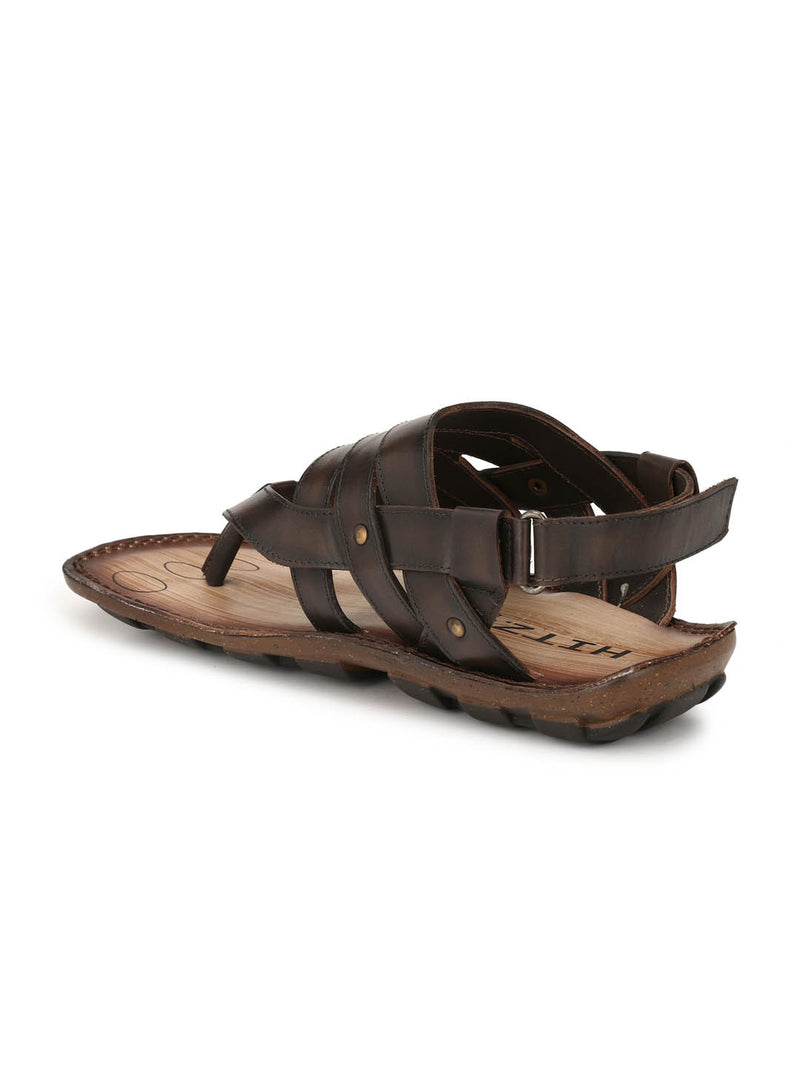 Brown Leather Strap Sandals for Men