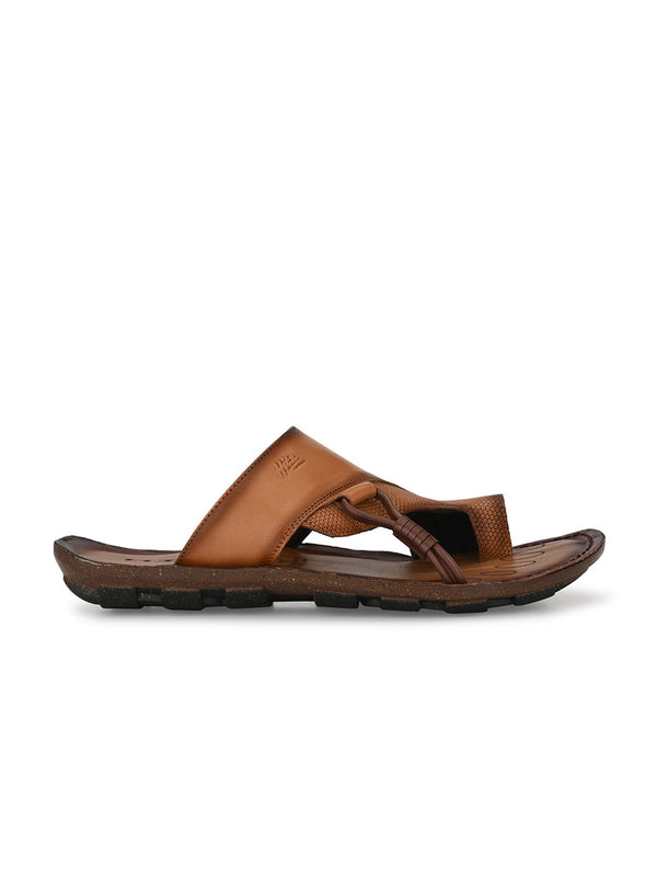 Hitz Emilio Tan+Brown Slippers For Men