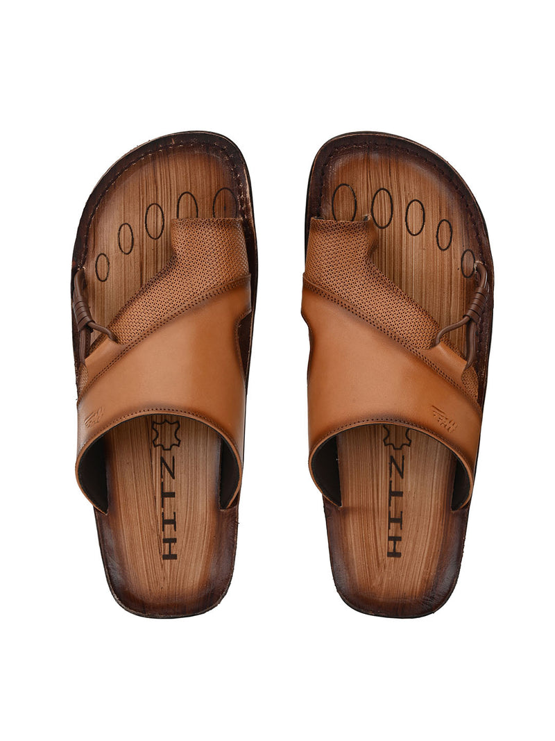 Hitz Emilio Tan+Brown Sandals For Men