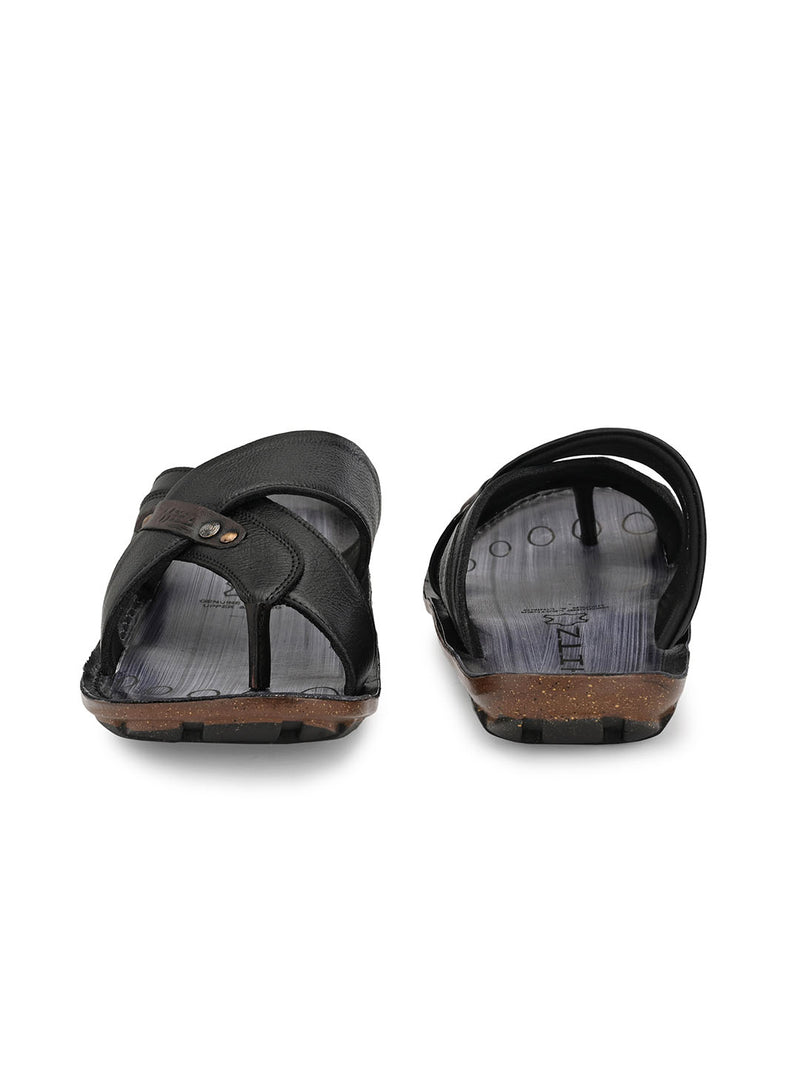 Hitz Enzo Black+Brown Sandals For Men
