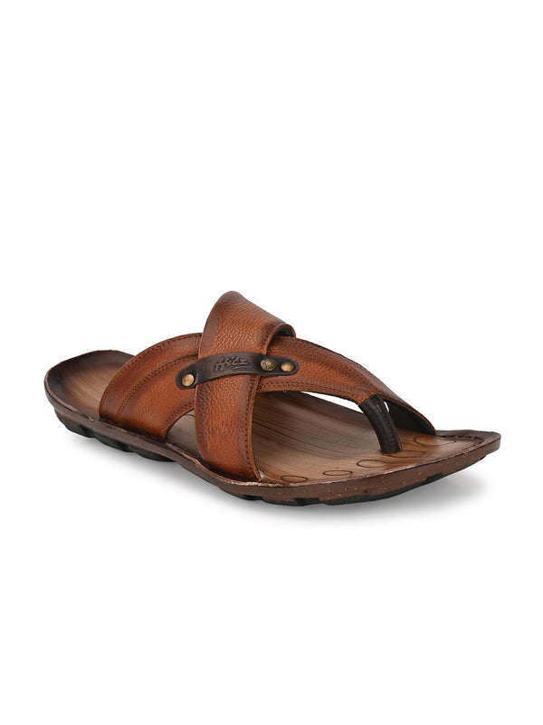 Hitz Enzo Tan+Brown Sandals For Men