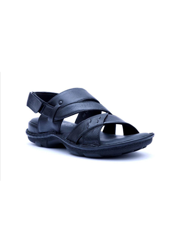 Men Black Leather Cushioned Sandals