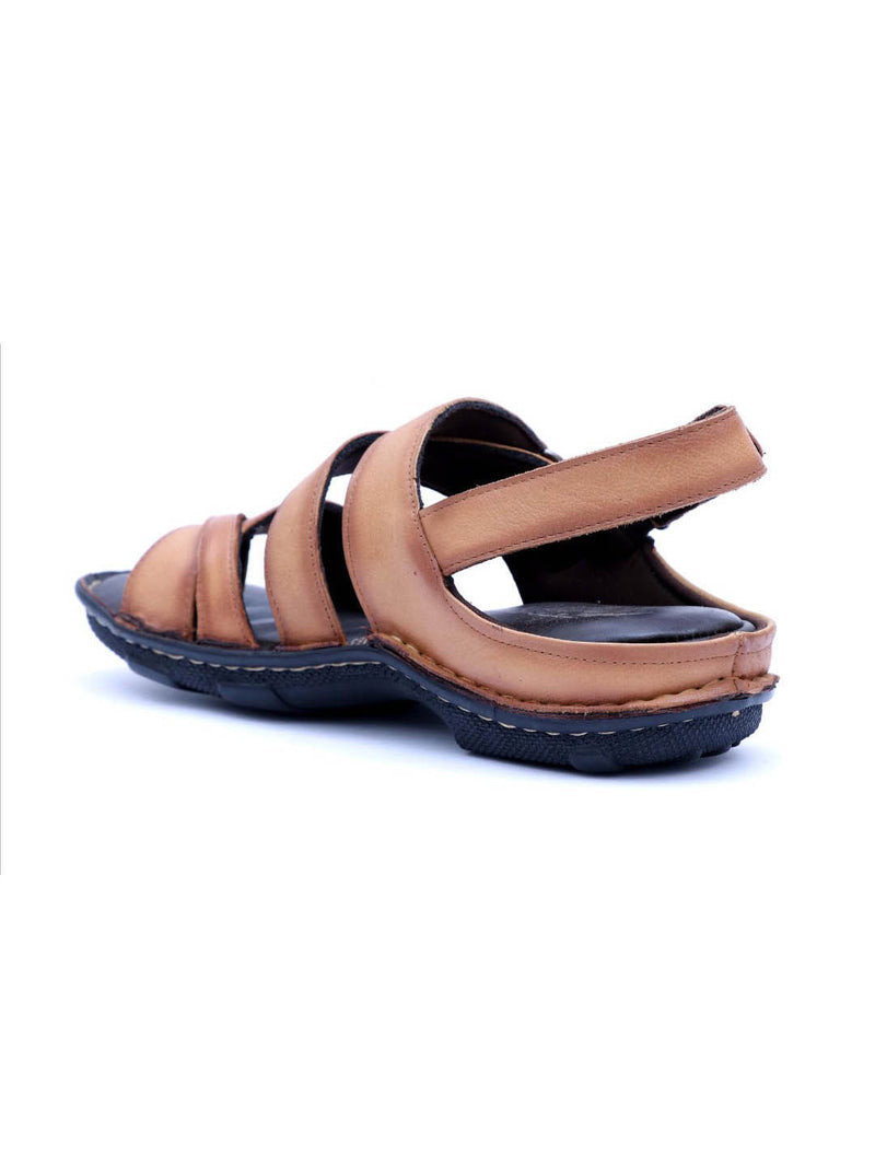 Men Beige Leather Cushioned Sandals