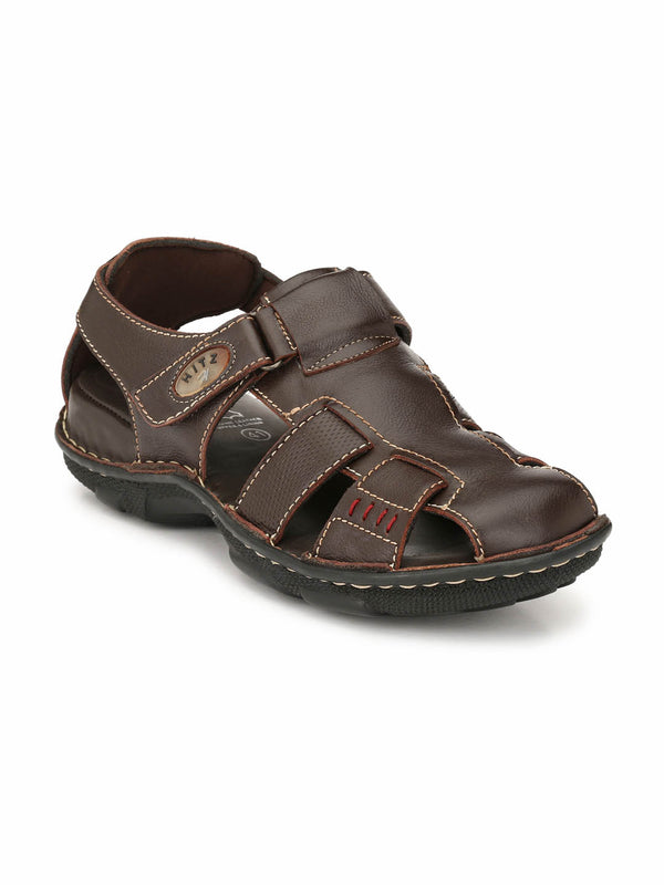 New Dragon - 9224 Brown Leather Sandals