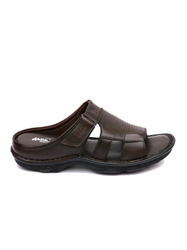 Men Brown Leather Comfort Slippers