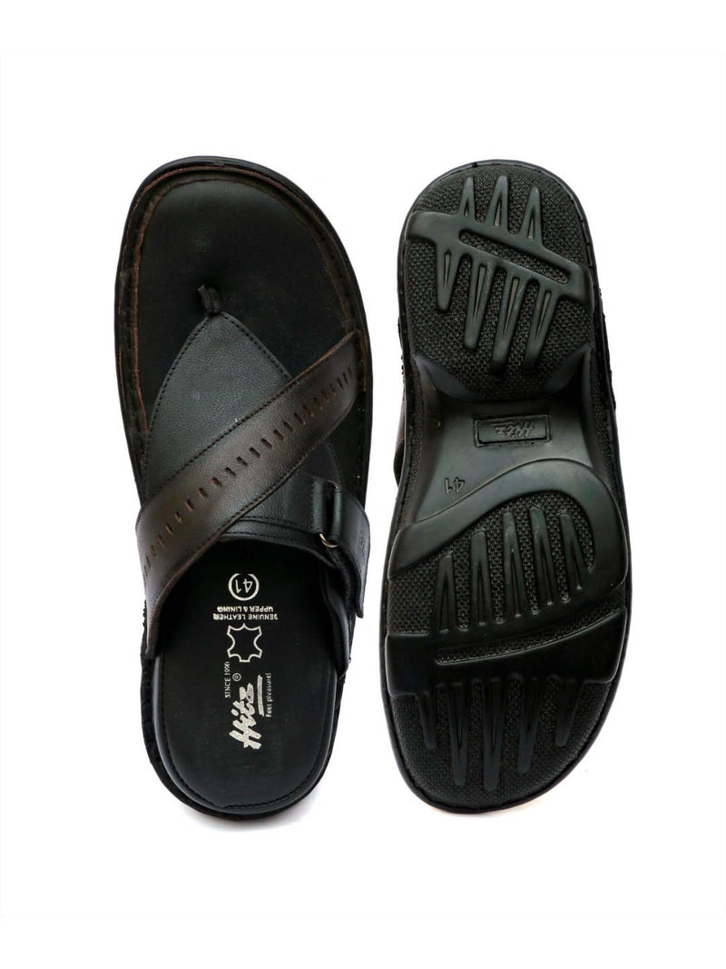 New Dragon - 9234 Black + Brown Leather Slippers