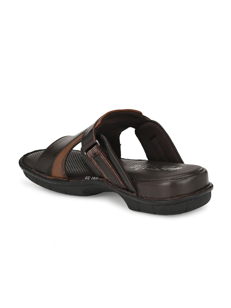 HITZ Slava Brown+Tan Sandals For Men