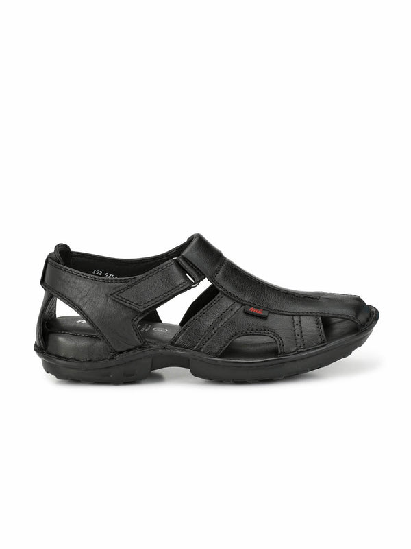 Dragon - 9254 Black Leather Sandals