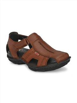 MEN TAN FISHERMAN SANDALS WITH VELCRO