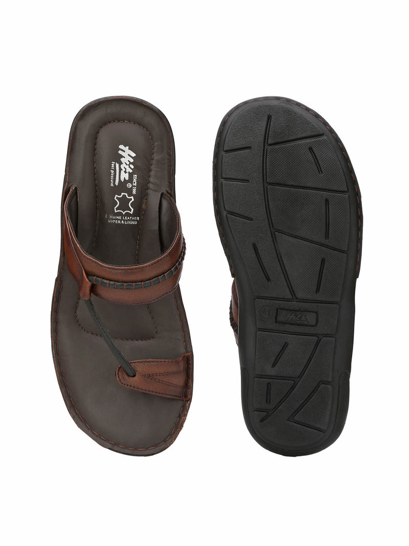 Nike - 9402 Brown + Black Leather Slippers