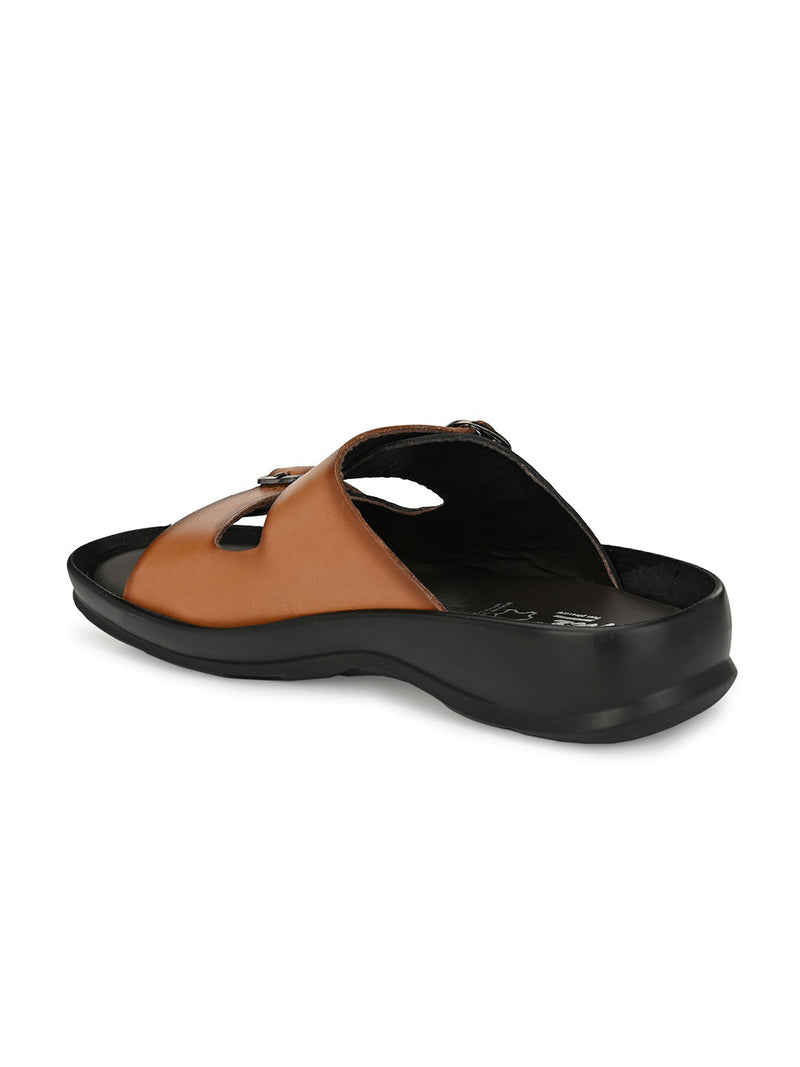HITZ Egor Tan+Black Sandals For Men