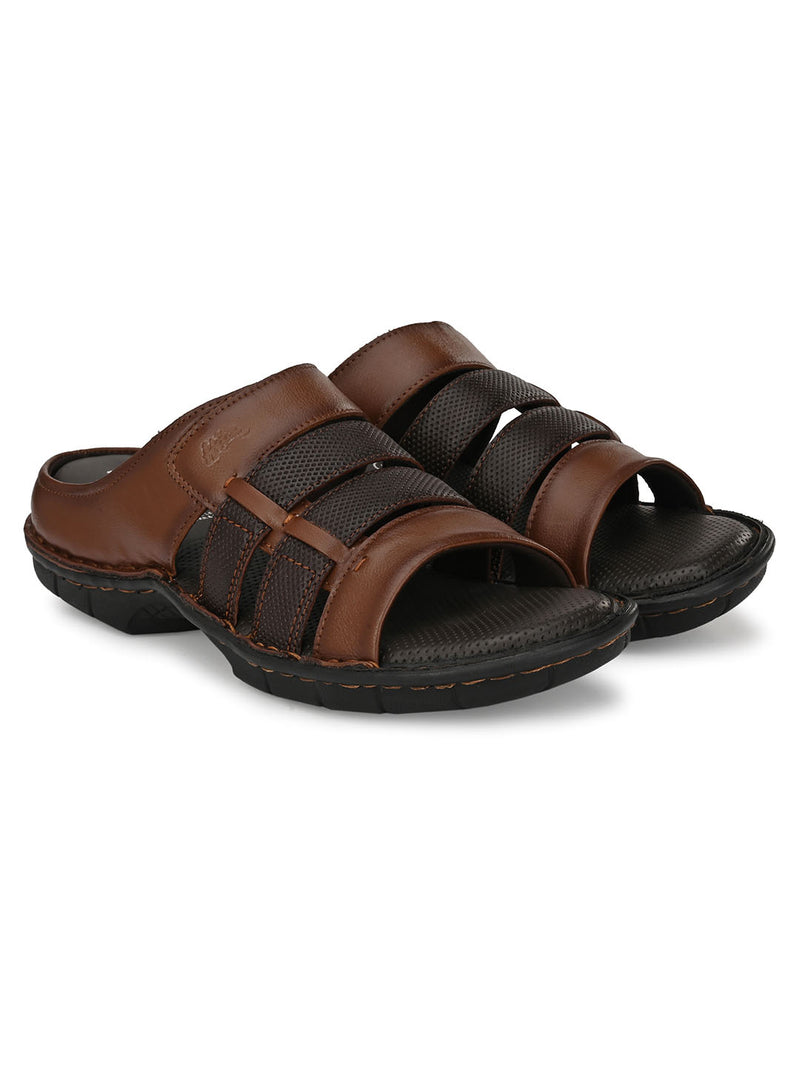 HITZ Gavril Tan+Brown Sandals For Men