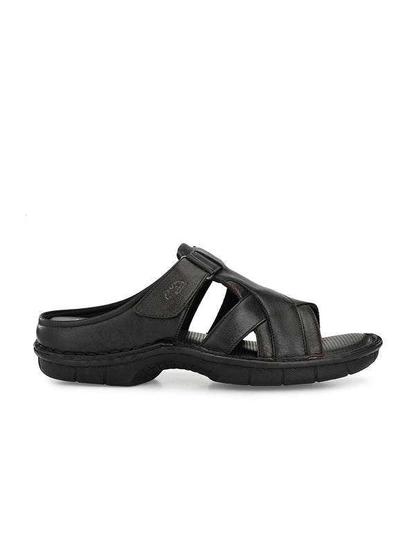 Hitz Sergio Black+Brown Sandals For Men