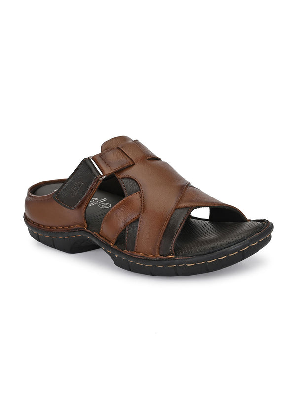 Hitz Sergio Tan+Brown Sandals For Men