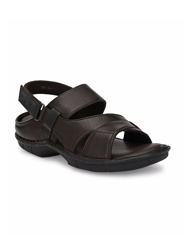 Hitz Marco Brown+Black Sandals For Men