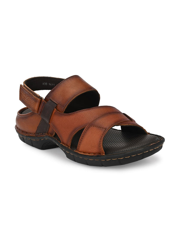 Hitz Marco Tan+Brown Sandals For Men