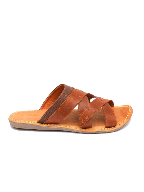 Nathan - 9703 Tan + Brown Leather Slippers