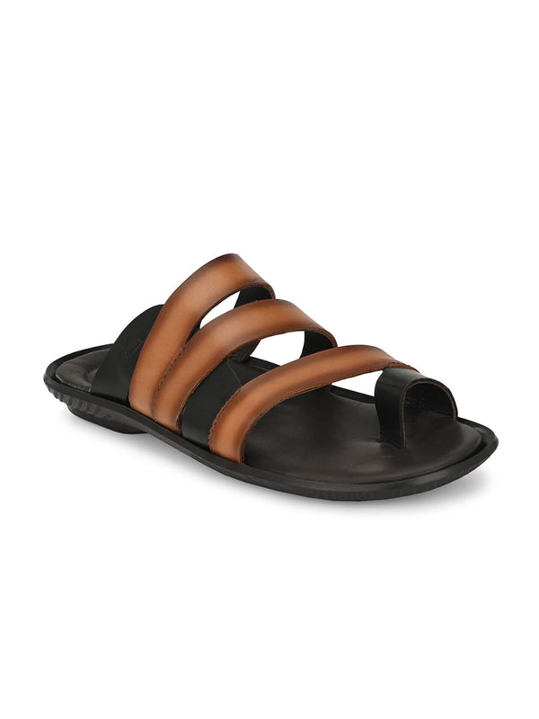 Hitz Alfredo Tan+Brown Slippers For Men
