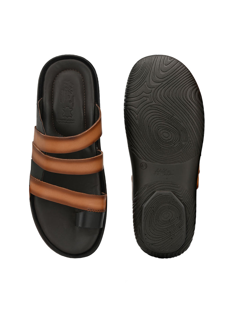 Hitz Alfredo Tan+Brown Sandals For Men