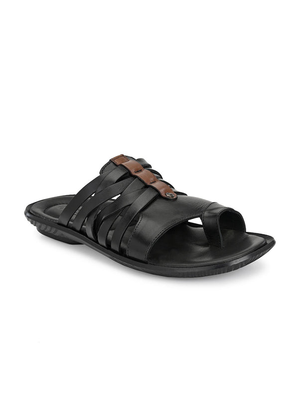 Hitz Orlando Black+Brown Slippers For Men