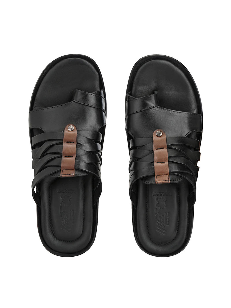Hitz Orlando Black+Brown Sandals For Men