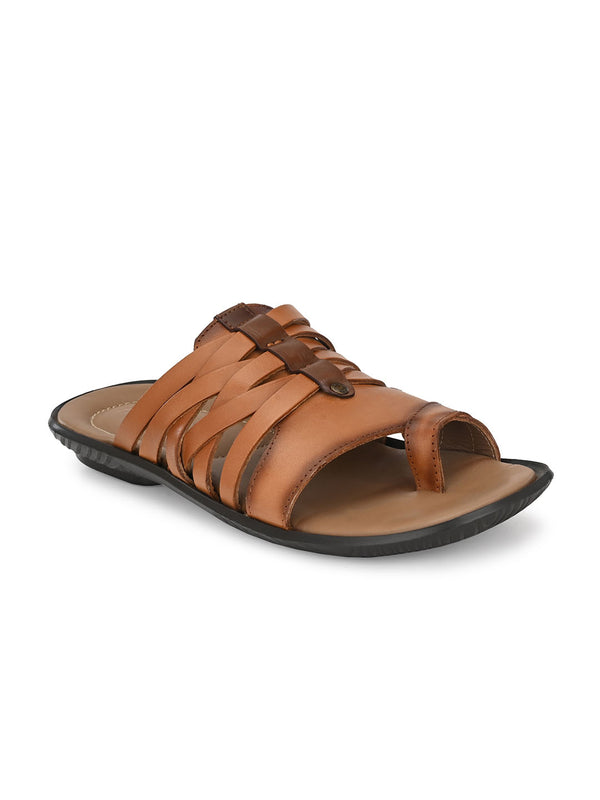 Hitz Orlando Tan+Brown Slippers For Men