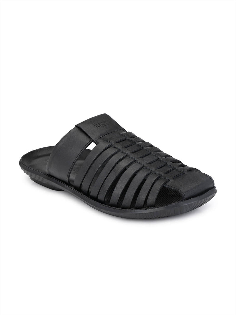Men Black Casual Touch Strap Slippers