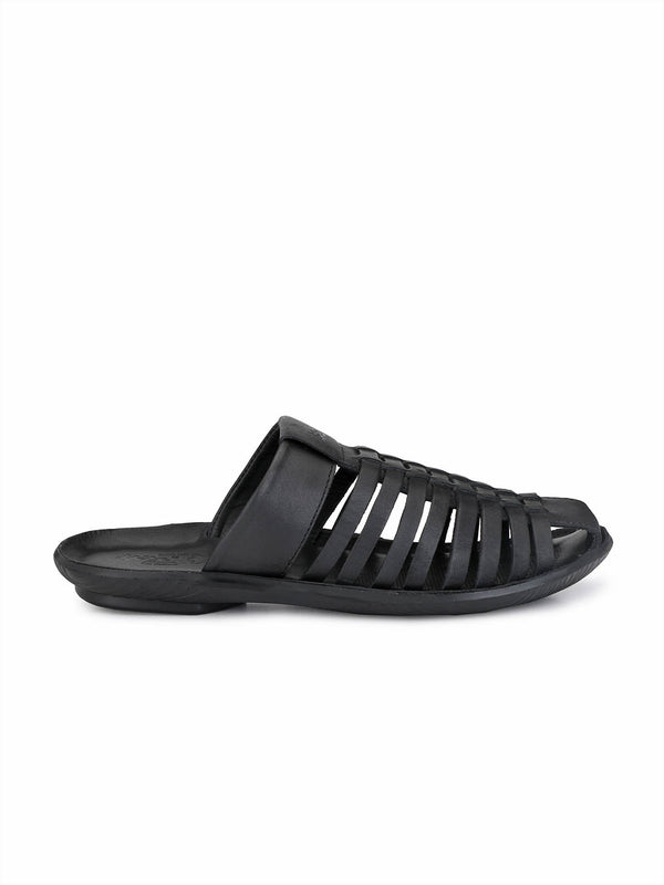 Marcos - 9791 Black Leather Slippers