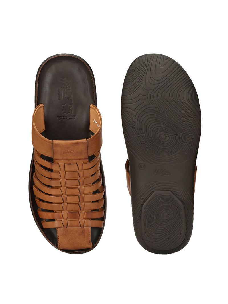 Men Tan Casual Touch Strap Slippers