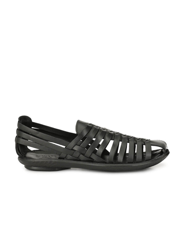 Men Black Leather Formal Leather Sandals