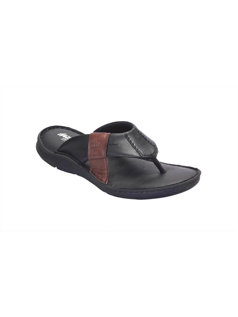 Pellegrini - 9805 Black + Brown Leather Slippers