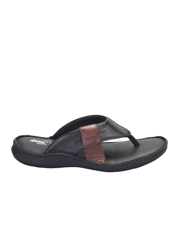 Men Black Brown Leather Cushioned Slippers