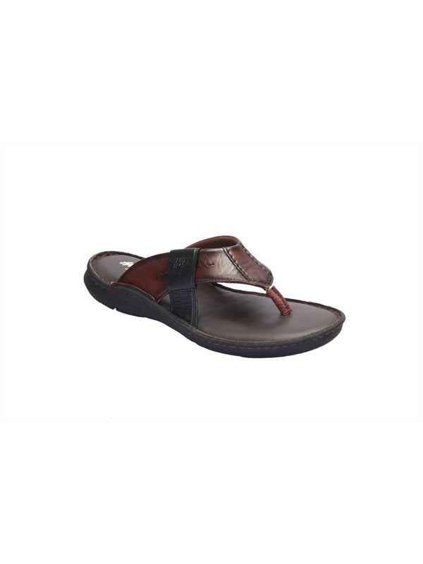 Men Brown Black Leather Cushioned Slippers