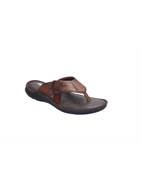 Men Tan Leather Cushioned Slippers