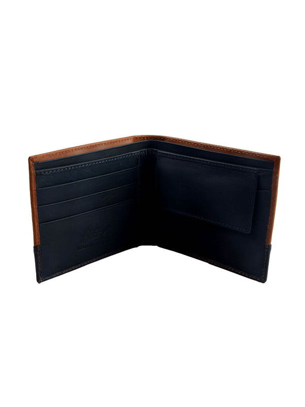 BS-3017 TAN/BLUE LEATHER WALLETS